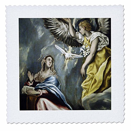 3dRose qs_82990_1 Grecos Painting, The Annunciation HI01 PRI0024 Prisma Quilt Square, 10 by 10-Inch
