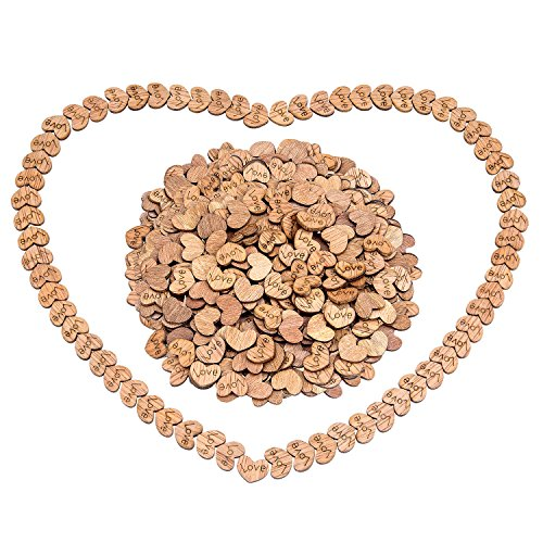 - Awpeye 300 PCS Rustic Wooden Love Hearts Wedding Table Scatter Decoration Crafts