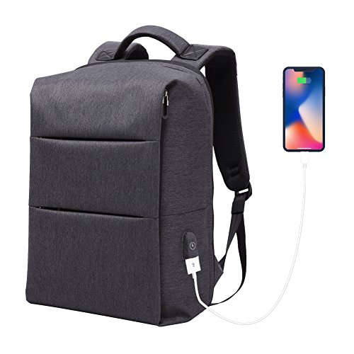 Laptop Backpack for Business Travel Backpack Fit 15 inch Outdoors Large Capacity 60 Degrees Extended with USB Charging Port Anti Theft Water Resistant Padded Straps without Shock for Men Women, Black by Nuheby