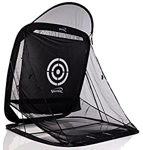 Spornia SPG-5 Golf Practice Net - Automatic Ball Return System W/Target sheet, Two Side Barrier (With Roof)