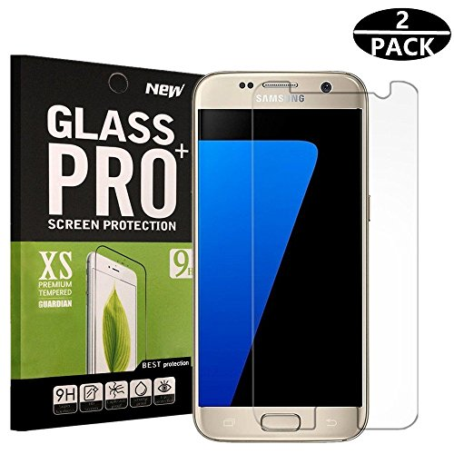 Rockxdays Samsung Galaxy S7 Screen Protector, HD Clear Anti-Scratch, Anti-Fingerprint, Bubble Free, Tempered Glass Screen Protector for Samsung Galaxy S7 - 2 Piece