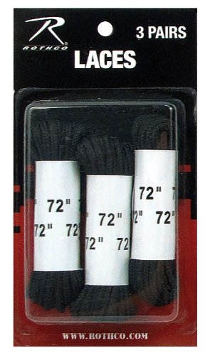 Rothco Boot Laces (3 Pack), Black, 72'' - Rothco Nylon Boot