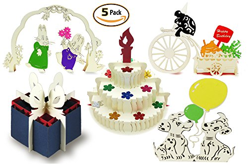 3D Popup Happy Birthday Cards (Set of 5 Assorted Pop Up Cards) Custom Designed Kirigami on Elegant Paper