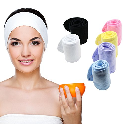 Stretch Headband (Teemico 6 Pack Premium Spa Facial Headband Head Wrap Terry Cloth Headband Stretch Towel with Magic Velcro for Shower, Makeup and Sport, 4