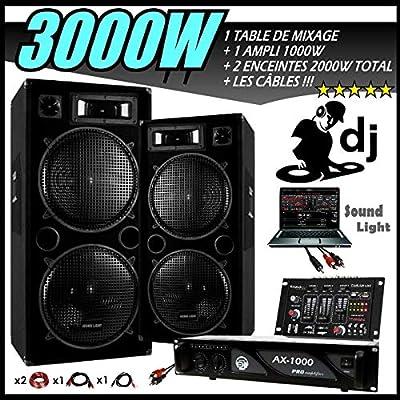 Sono 3000 W Pack DJ completo + mesa de mezcla USB + 2 altavoces ...