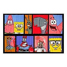 Fun Rugs Spongebob Characters Photo Strip Kids Playroom Activity Mat Rug 39 x 58