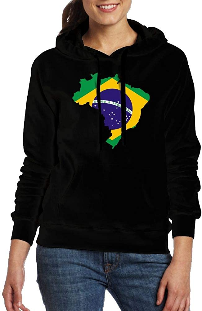 Big /& Tall Cotton Sports Pullover with Pocket for Women Ou40IL@WY Womens Brazil Flag Map Hooded Fleece