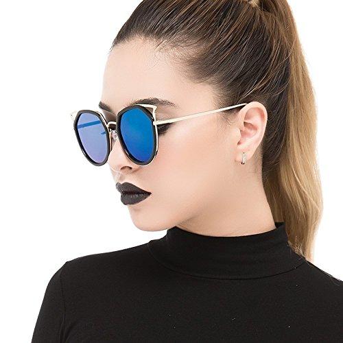 Polarizadas Sol Black Metálico Plata Gafas Hombres Gato Mujeres Ojo Vintage Blue De Bastidor TIANLIANG04 Para Oculos De Claro x0wUqCYF