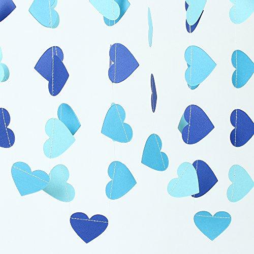 Heart Blue Glitter (ZOOYOO Glitter Paper Heart Garland Dots Hanging Decor, Heart Event & Party Supplies,2'' high,9.8-feet (Light blue Deep blue Sky blue))
