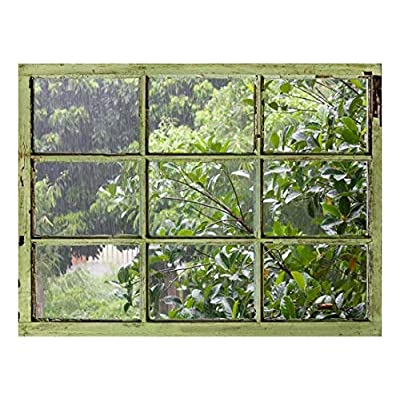 Window View Wall Mural It's Raining Outside Vintage Style Wall Decor Peel and Stick Adhesive Vinyl Material, Quality Creation, Charming Design
