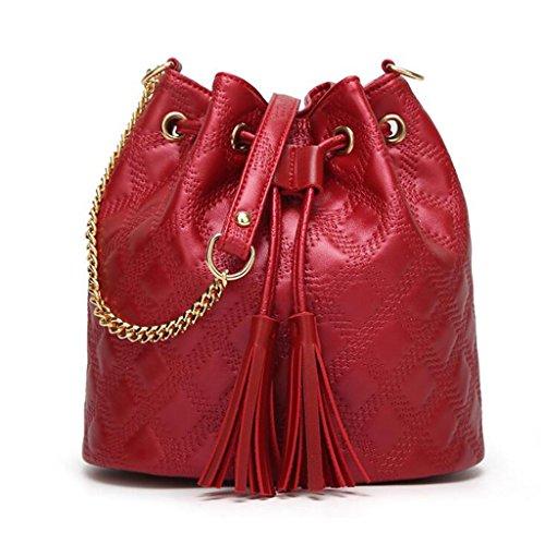 frange donna tracolla da a a moda da Borsa alla Messenger Colore Rosso semplice donna GKKXUE secchiello Rosso con Borsa XxIOOgq