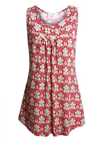 Tunic Length Vest - Anna Smith Long Tank Tops for Leggings, No Shrinking Material Sleeveless Womens Tunic Top Above Knee Length Flowing Ruched Floral Printed Polyester Ladies Pullover Knitted Blouses Red L