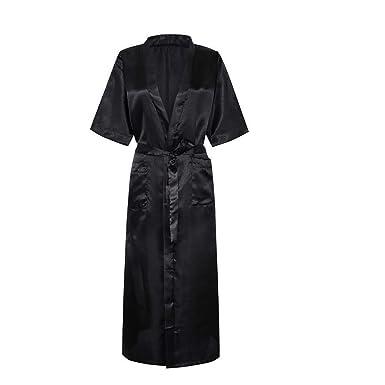 0c6f08e558 MRULIC Women Sexy Smoth Satin Long Silk Bath Robe Babydoll Lingerie  Nightdress Underwear(Black