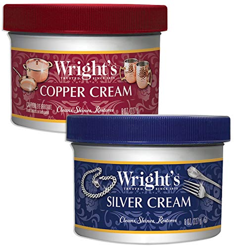 Wright's Silver and Copper Cream Cleaner and Polish - 8 Ounce Each - Ammonia Free - Premium Metal Polish Silver Copper Brass Chrome Porcelain and More ()