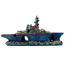 Resin Damaged Navy War Boat Mini Ship Battleship Wreck Fish Tank Landscape Ornament Cave Aquarium Decoration Decor