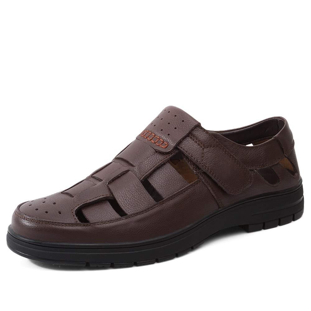 ZXF Chaussures en Cuir pour Hommes Sandales perforées entièrement fermées Mocassins à Fond Plat Confortables avec Crochet et Boucle Sandals (Couleur   Marron, Taille   44 EU) Marron 44 EU