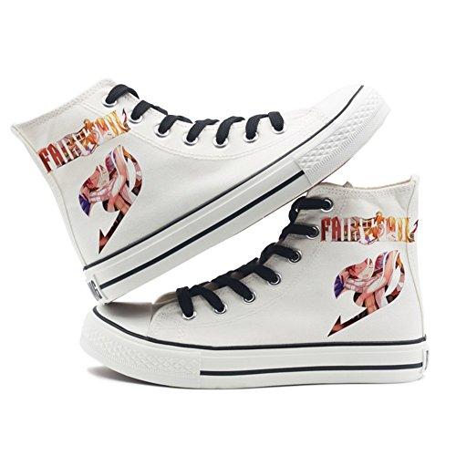 Fairy Tail Anime Logo Leinwand Schuhe Cosplay Schuhe Turnschuhe Schwarz / Weiß Weiß 5