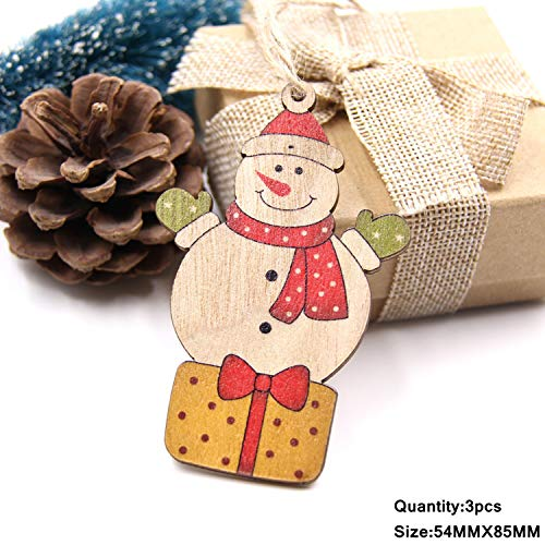 Mydufish 3PCS Multi Lovely DIY Christmas Wooden Pendant Ornaments Wood Craft for Xmas -