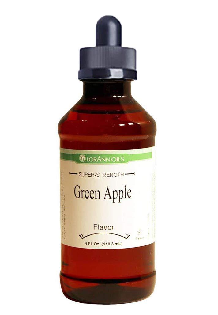 LorAnn Green Apple Super Strength Flavor, 4 ounce bottle - Includes a threaded Glass Dropper