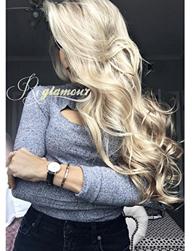 Riglamour Long Wavy Mixed Blonde Highlight Wig for