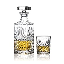 Brilliant - Ashford Lead Free Crystal 5 Piece Whisky Set - Whisky Decanter and Whisky Glasses