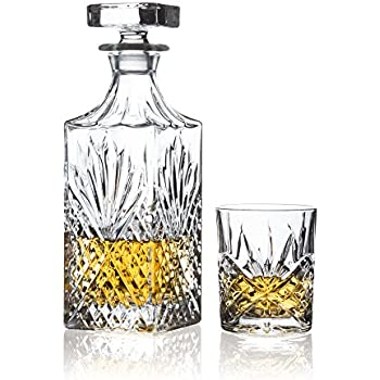 brilliant ashford lead free crystal 5 piece whisky set whisky decanter and whisky glasses - Whisky Decanter