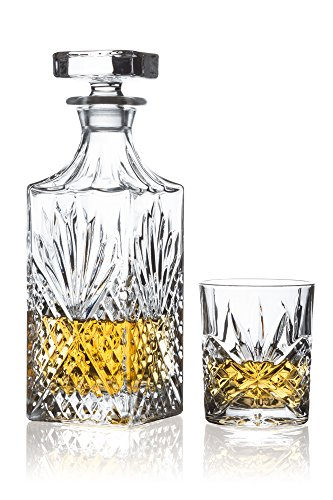 Crystal Set Free Lead (Brilliant - Ashford Lead Free Crystal 5 Piece Whisky Set - Whisky Decanter and Whisky Glasses)