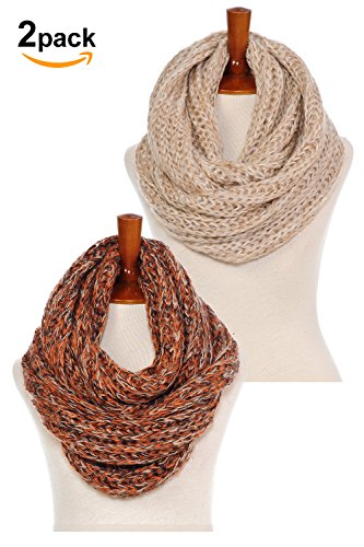 Oatmeal Color (Basico Women Warm Circle Ring Infinity Scarf Neck Warmer Various Colors (2pk Oatmeal/ Autumn))