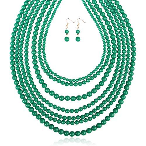 RIAH FASHION Multi Layer Beaded Bubble Statement Necklace - Round Ball Chunky Drape Bib Collar 7 Strands (Dark Emerald) ()