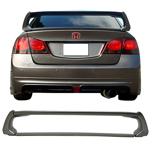 Pre-painted Trunk Spoiler Fits 2006-2011 Honda Civic | ABS Painted #NH701M Galaxy Gray Metallic Trunk Boot Lip Spoiler Wing Deck Lid Other Color Available By IKON MOTORSPORTS | 2007 2010