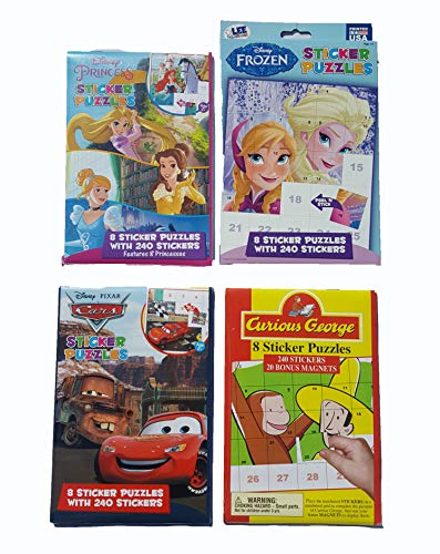 Disney Ultimate Sticker Books with 960 Stickers: Princesses, Pixar Cars, Frozen and Curious George Set (Frozen Sticker By Number)