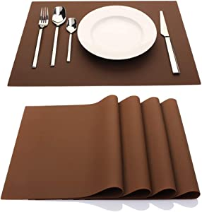 ME.FAN Silicone Placemats [17.7''x12.6''] Heat-Resistant Thicken Non-Slip Tablemats Stain Resistant Anti-Skid Washable Reusable Table Mats Set of 4 (Coffee)