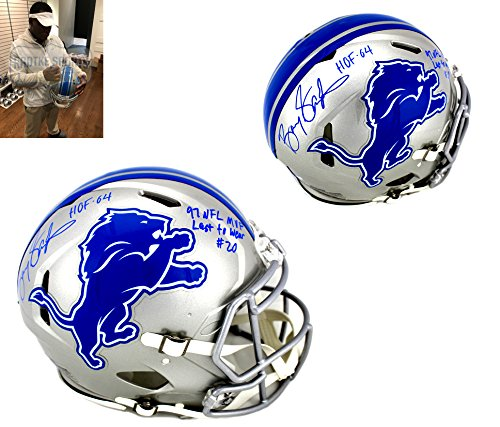 Barry Sanders Autographed/Signed Detroit Lions Authentic NFL Speed Helmet With Career Stats (Barry Sanders Stats)
