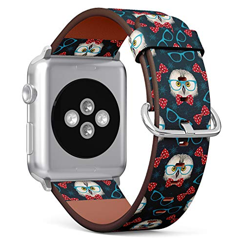 (Republican Elephants Pattern on red Stripes) Patterned Leather Wristband Strap Compatible with Apple Watch Series 4/3/2/1 gen,Replacement of iWatch 38mm / 40mm Bands