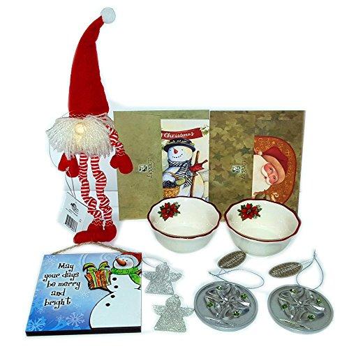 Christmas Holiday Decor, Ornaments & Cards Gift Bundle [5 -