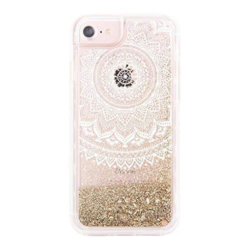 uCOLOR Gold Glitter Damask Floral Case for iPhone 6S /iPhone 6, iPhone 7 Case iPhone 8 Case Waterfall Clear Protective Case for iPhone8/ 7/6S/6(4.7')