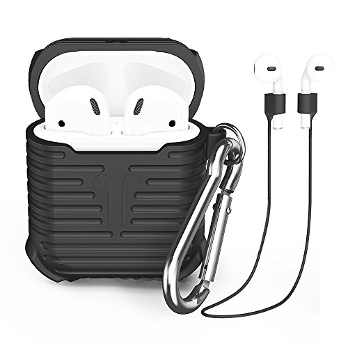 AirPods Case, CAFELE Silicone Shockproof Protective Case Cover Skin with Magnetic Anti-Lost Strap for Apple AirPods