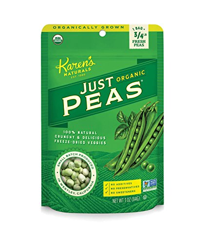 Karen's Naturals Organic Just Peas, Organic All Natural Freeze-Dried Fruits & Vegetables, Gluten Free No Additives or Preservatives, Non-GMO,3 Ounce, Pack of 6