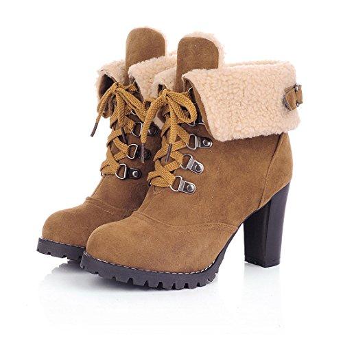 Milesline Fashion Women's Booties Winter Warm Fur Lined Lace Up Chunky High Heel Snow (Fur Heel Boots)