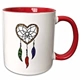 3dRose All Smiles Art Native American - Fun Heart Shaped Dream Catcher with Beads and Feathers - 11oz Two-Tone Red Mug (mug_245443_5)