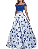 YSMei Women's 2 Piece Floral Print Prom Homecoming Dress Off shoulder Long Party Gown Royal Blue Custom