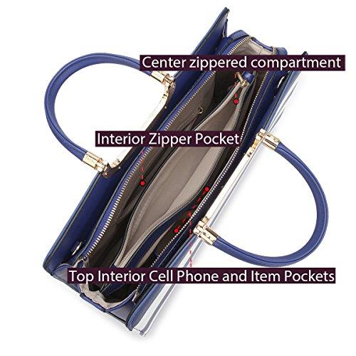 Shoulder Handbag Set Leather Stripe Wallet Patent Purse Striped White red Bag Large Satchel Designer wYzgppqE