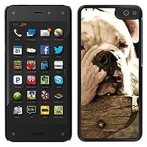 // PHONE CASE GIFT // Duro Estuche protector PC Cáscara Plástico Carcasa Funda Hard Protective Case for Amazon Fire Phone / Bulldog Sleepy Dog Vignette Summer /