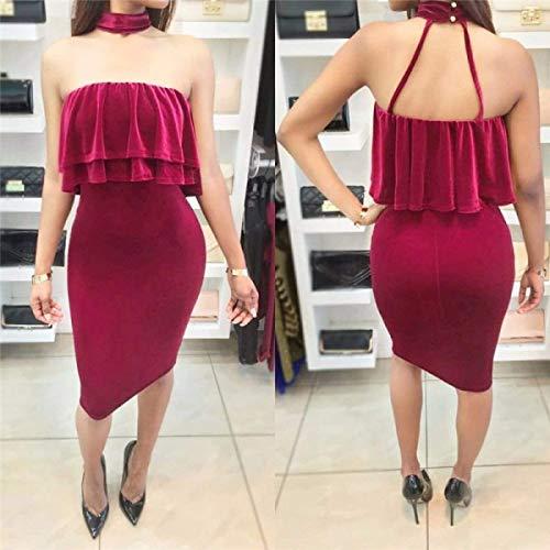 coloré Taille Small À Manches Rouge Marron Sans Bretelles Oudan Sexy Rouge Robe m 8wv4p4