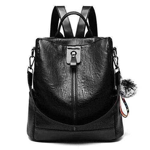 HGDR Mochila De Cuero para Mujer Casual Daypack Diario Mochilas Escolares Bag Satchel Travel Bag,Black-31*14*32cm Black