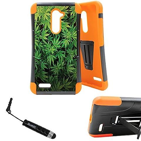 ZTE ZMAX Pro Kickstand Case, ORANGE Hybrid Shock Proof High Impact Armor Kickstand Case by URAKKI - ZTE ZMAX Pro Z981 (2016) / Z Max Pro / ZTE Carry [Weed Marijuana Camouflage] (Zte Zmax Phone Case Marijuana)