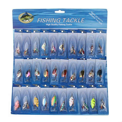 iLooper 30pcs/lot Spinner Fishing Lure with Various Color and Size-Hard Fishing Bait