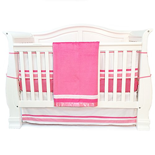 Simplicity Baby Cribs - One Grace Place Simplicity Infant Crib Bedding Set, Hot Pink/White, 4 Piece