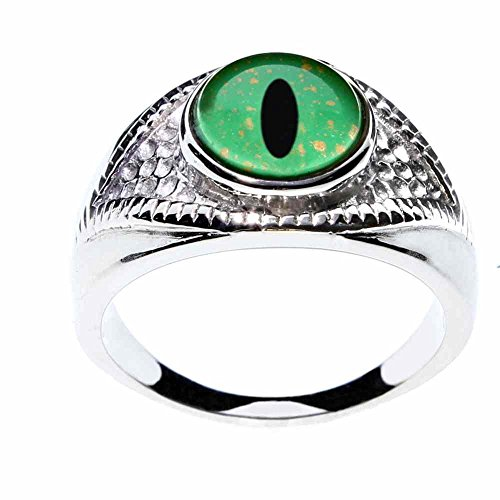 - Steel Dragon Jewelry Unisex Green Dragon Glass Eye Ring in an Eye-Shaped Stainless Steel Setting by (Green Dragon, 6)