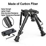 XAegis Carbon Fiber 6''- 9'' Rifle Bipod with Keymod Adapter for Hunting & Shooting Carbon Bipod